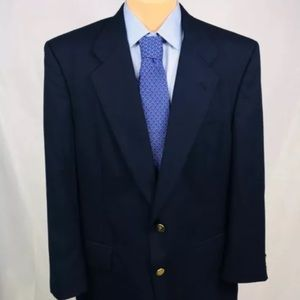 Burberry Navy Gold Button Blazer Wool 46R